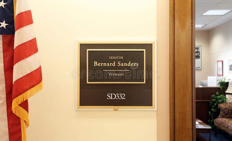 Büro von Senator Bernie Sanders Vereinigter Staaten stockfotos