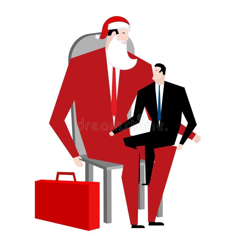 Büro-Weihnachten Manager, der auf Schoss des Chefs sitzt Santa Claus Co vektor abbildung