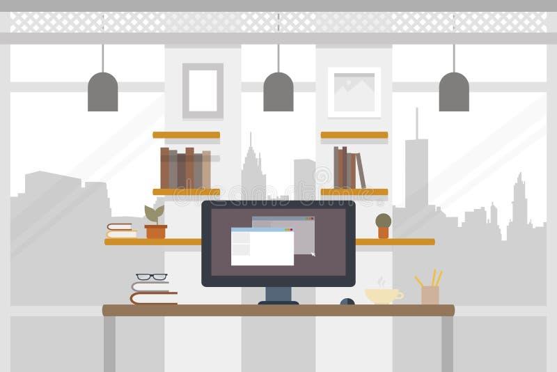 Büro worlplace Arbeitsillustration im flachen Entwurf Arbeitsplatz Coworking-Fahne Auch im corel abgehobenen Betrag vektor abbildung