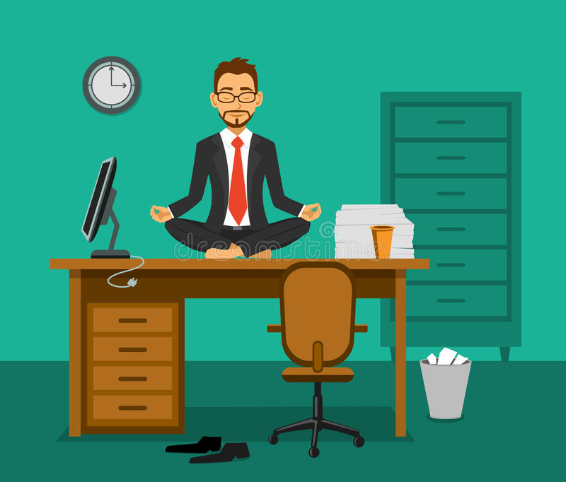 Büro-Yoga-Vektor-Illustration vektor abbildung