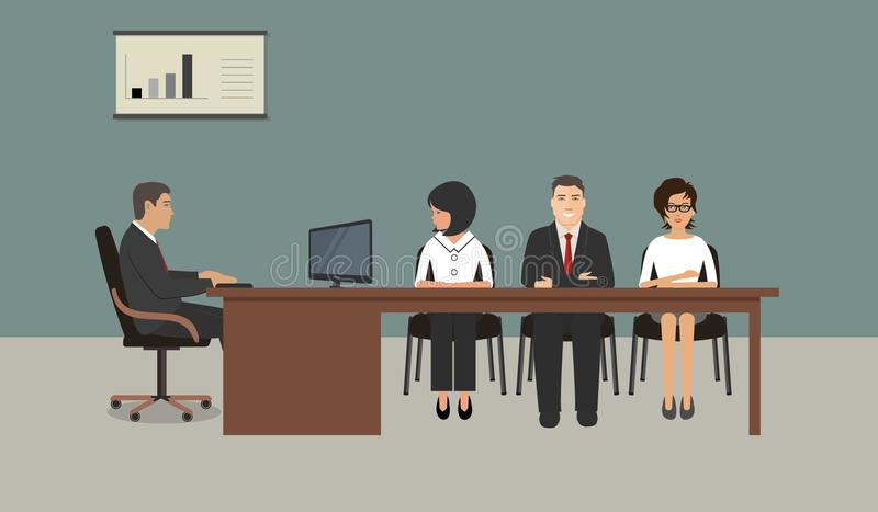 Büroangestellte während der Sitzung lizenzfreie abbildung