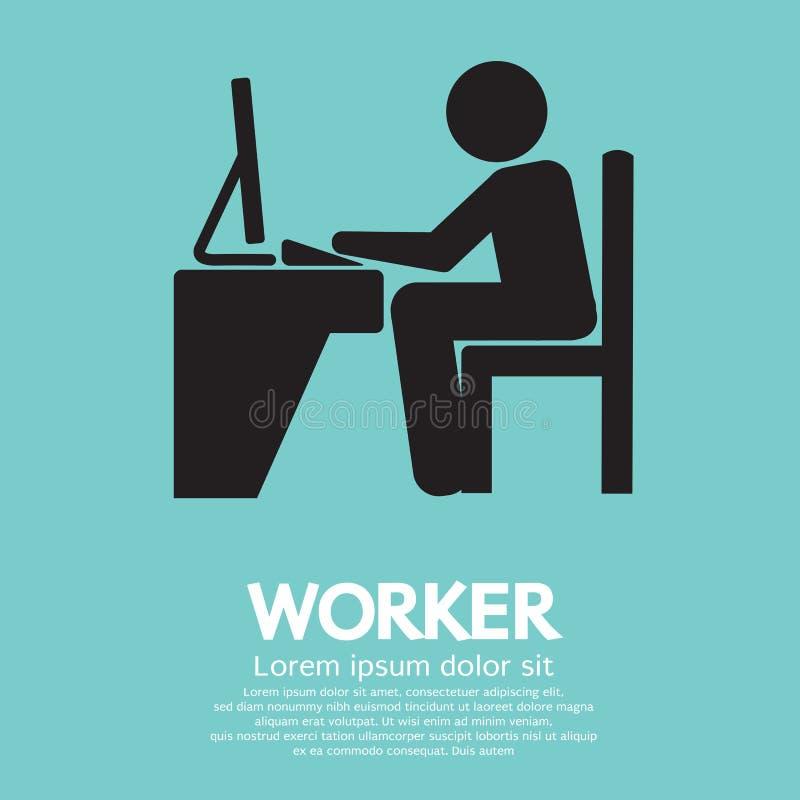 Büroangestellter, der Computer verwendet vektor abbildung