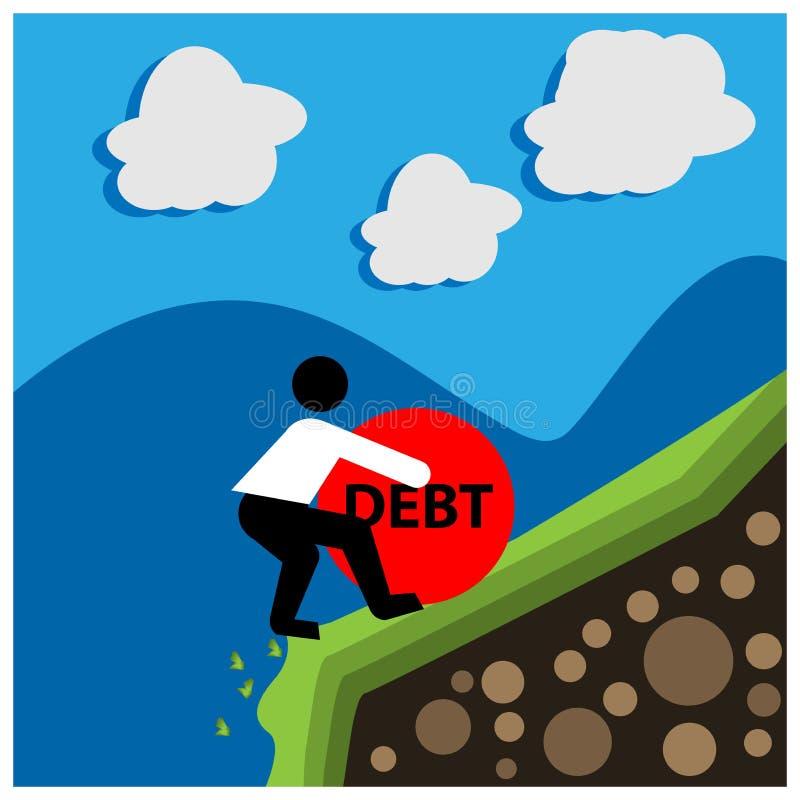 Büroangestellter, der den Stein mit Mitteilungsschuld hält Die Vektor-Illustration zeigt das Konzept von Finanz vektor abbildung