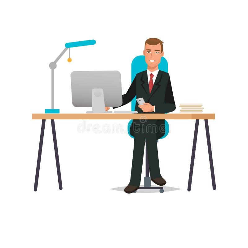 Büroangestellter, im Büro am Schreibtisch, nahe Computer Innenräume lizenzfreie abbildung