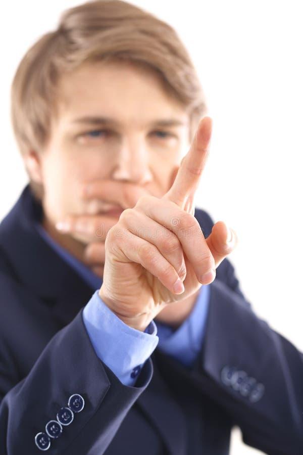 Büroangestellter löst das Problem lizenzfreies stockbild
