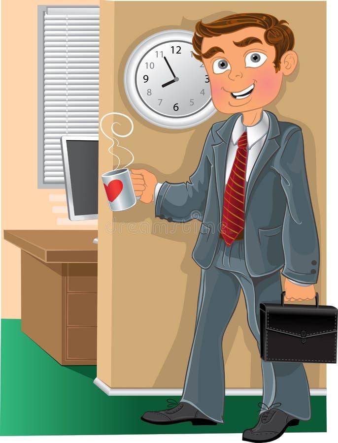 Büroangestellter mit Cup lizenzfreie abbildung
