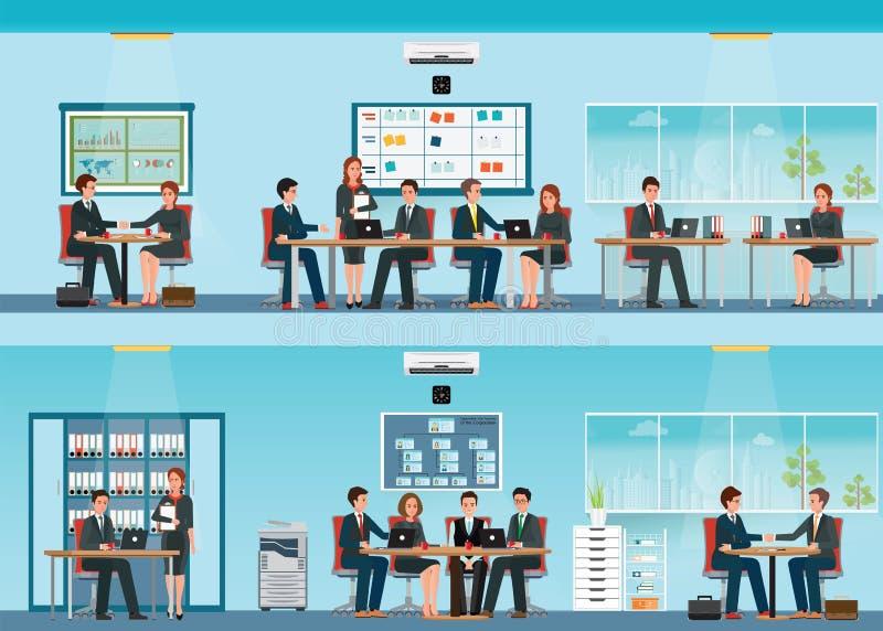 Büroangestellter mit Schreibtisch und Geschäftstreffen oder Teamwork lizenzfreie abbildung