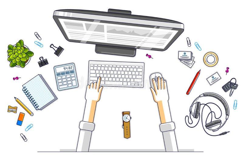 Büroangestellter oder Unternehmer, die an einem PC-Computer, Draufsicht arbeiten stock abbildung