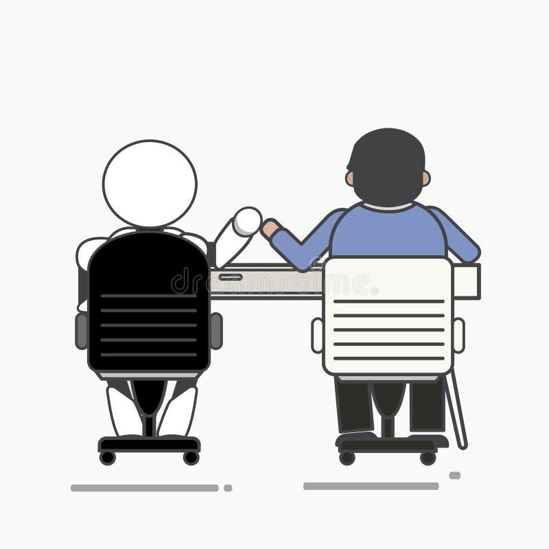Büroangestelltfreunde mit einem Roboter lizenzfreie abbildung