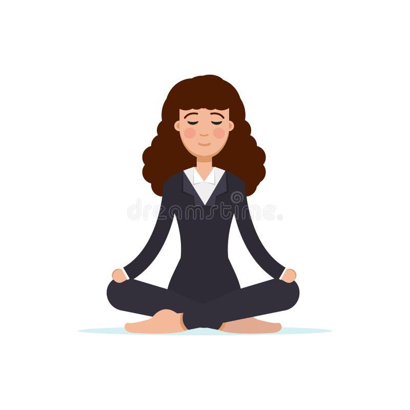 Büroangestelltmeditieren, sitzend in der Lotoshaltung Geschäftsfrau-Meditationskonzept stock abbildung