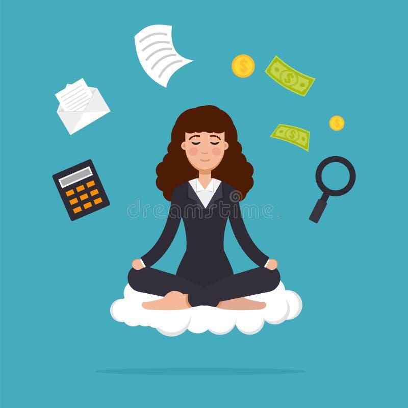 Büroangestelltmeditieren, sitzend in der Lotoshaltung Geschäftsfraumeditation und Mehrprozeßkonzept lizenzfreie abbildung