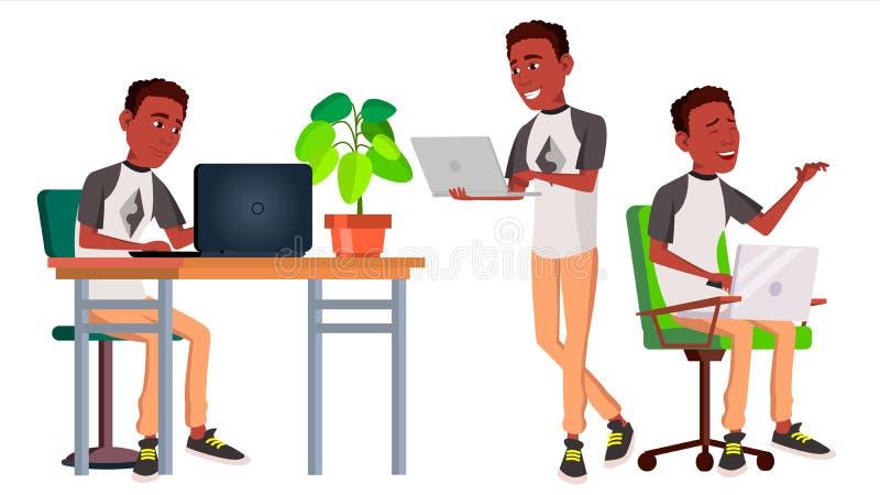 Büroangestelltvektor schwarzes afrikanisch Gesichts-Gefühle, Gesten Getrennt über weißem Hintergrund E stock abbildung