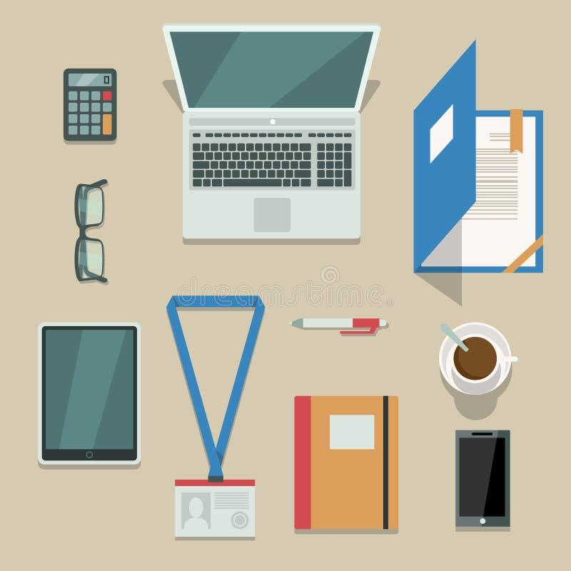 Büroarbeitsplatz mit tragbaren Geräten und Dokumenten vektor abbildung