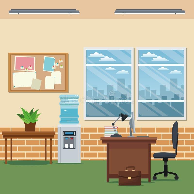 Büroarbeitsplatz-Schreibtischstuhl-Laptop lapm Tafelwasserbrettfenster färben Wand gelb lizenzfreie abbildung