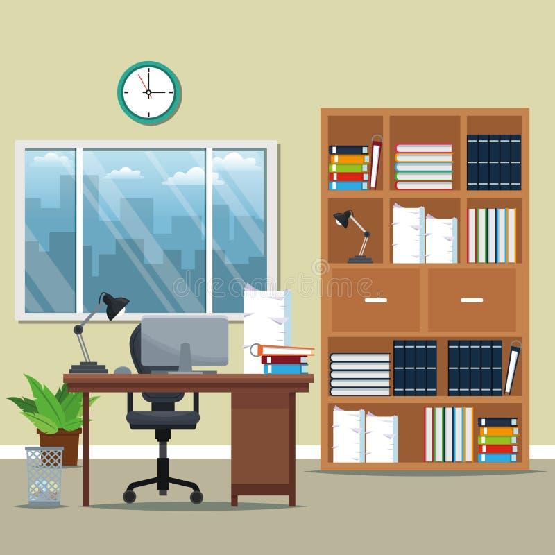 Büroarbeitsplatzbücherregal-Lehnsessellampe bucht Topfpflanzefenster-Stadtschattenbild vektor abbildung