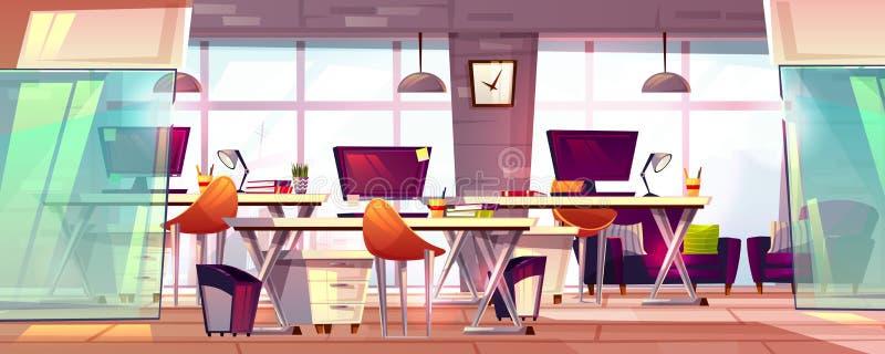 Büroarbeitsplatzinnenvektorillustration vektor abbildung