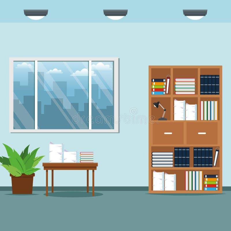 Büroarbeitsplatzmöbel-Tabellenbuch-Lampentopfpflanze vektor abbildung
