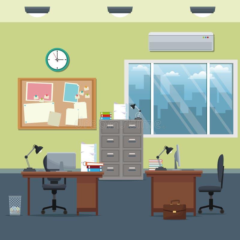 Büroarbeitsplatzschreibtischkabinettbrettmitteilungsuhr-Lampenfenster stock abbildung