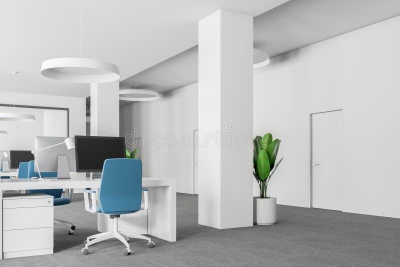 Büroecke des offenen Raumes, blaue Stühle schließen oben lizenzfreie abbildung