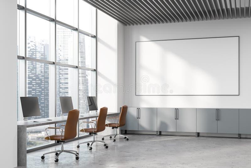 Büroecke des offenen Raumes des Dachbodens weiße, whiteboard lizenzfreie abbildung
