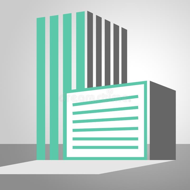 Bürogebäude-Ikone, die Illustration der Stadt 3d zeigt lizenzfreie abbildung