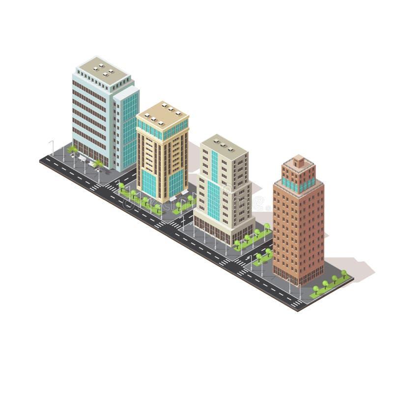Bürogebäude-isometrisches Design stock abbildung