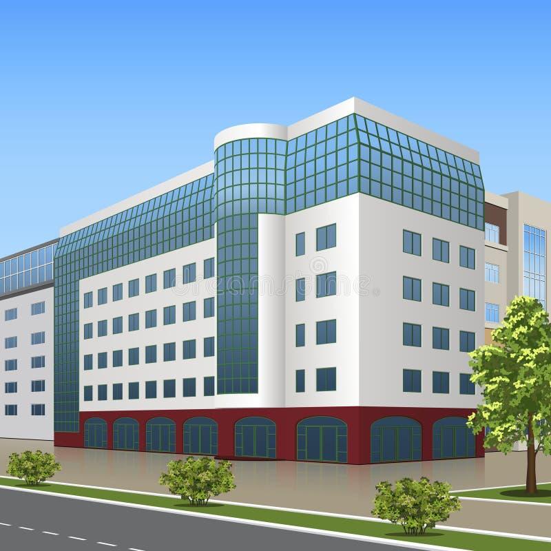 Bürogebäude mit dem Eingang und einem reflectio lizenzfreie abbildung