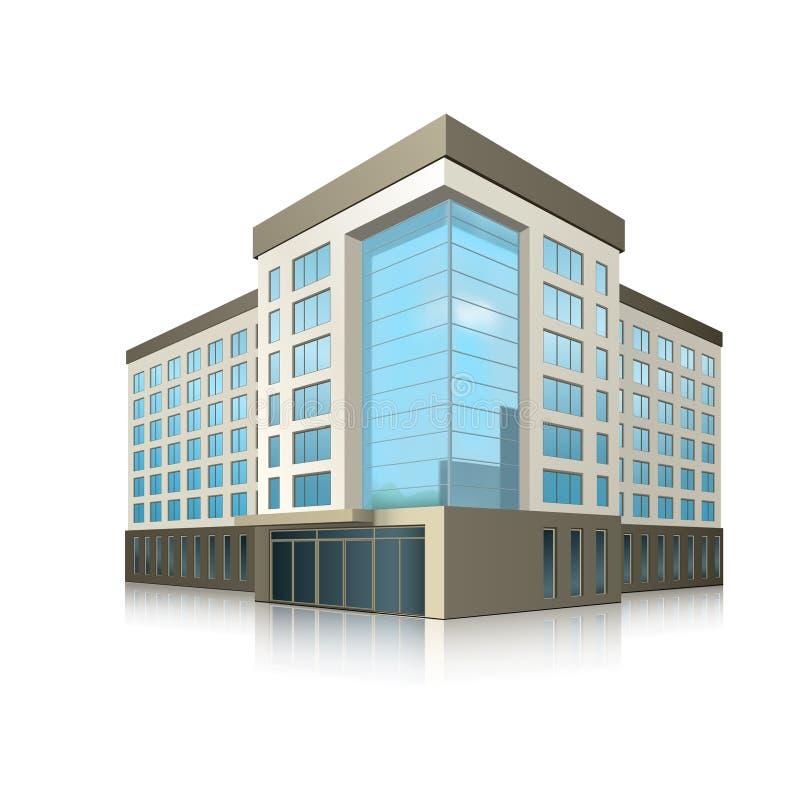 Bürogebäude mit einem Eingang und einer Reflexion lizenzfreie abbildung
