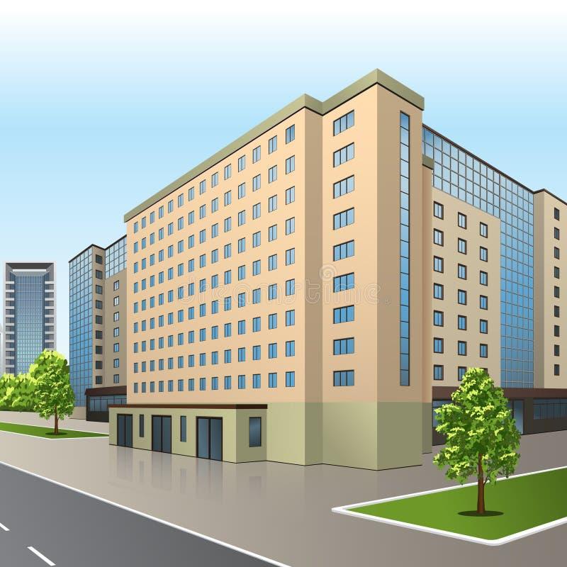 Bürogebäude mit einem Eingang und einer Reflexion vektor abbildung