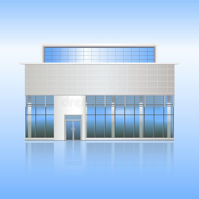 Bürogebäude und der Eingang mit Reflexion stock abbildung