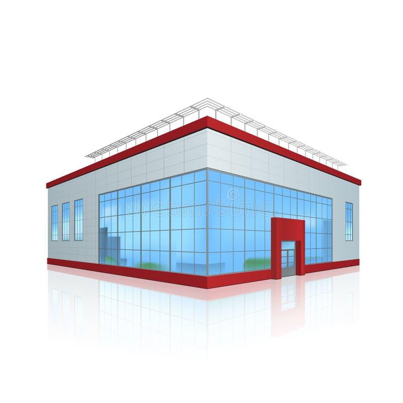Bürogebäude und der Eingang mit Reflexion lizenzfreie abbildung