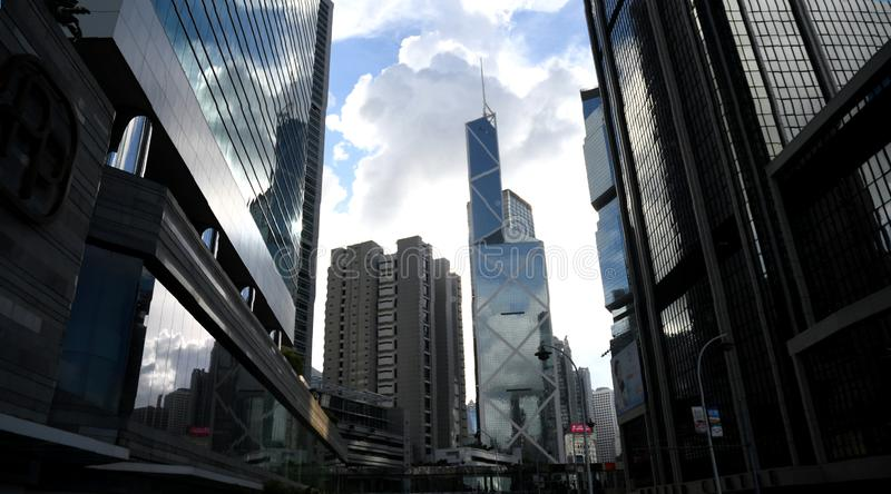 Bürogebäude in zentralem Hong Kong stockbilder