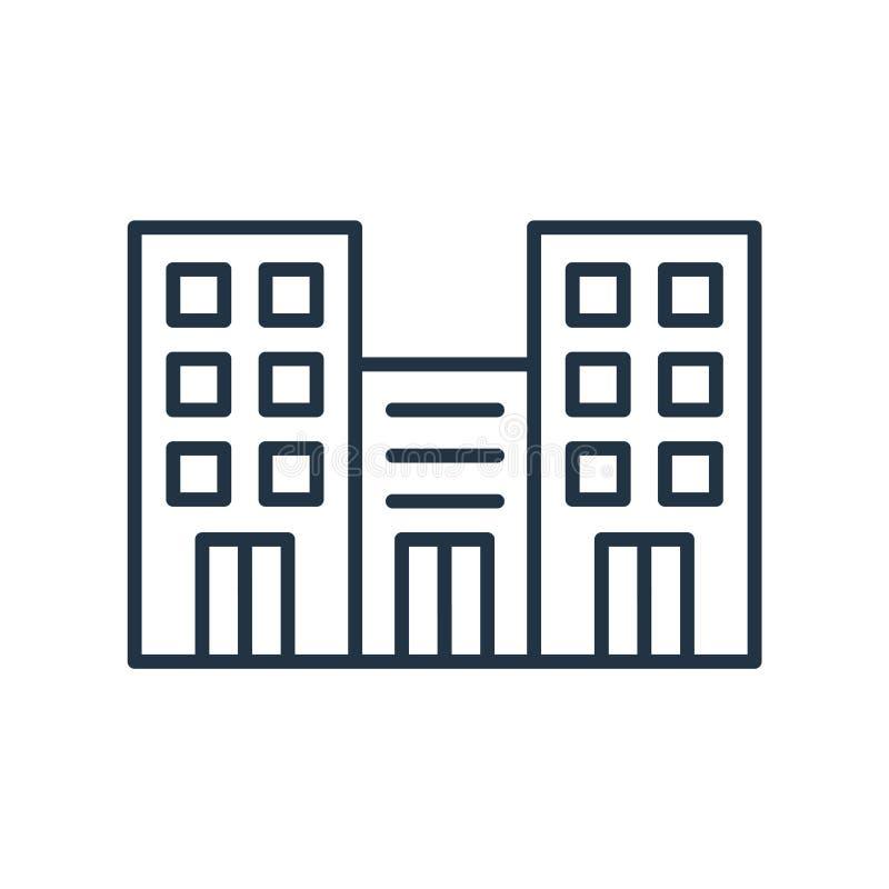 Bürogebäudeikonenvektor lokalisiert auf weißem Hintergrund, Bürogebäudezeichen lizenzfreie abbildung