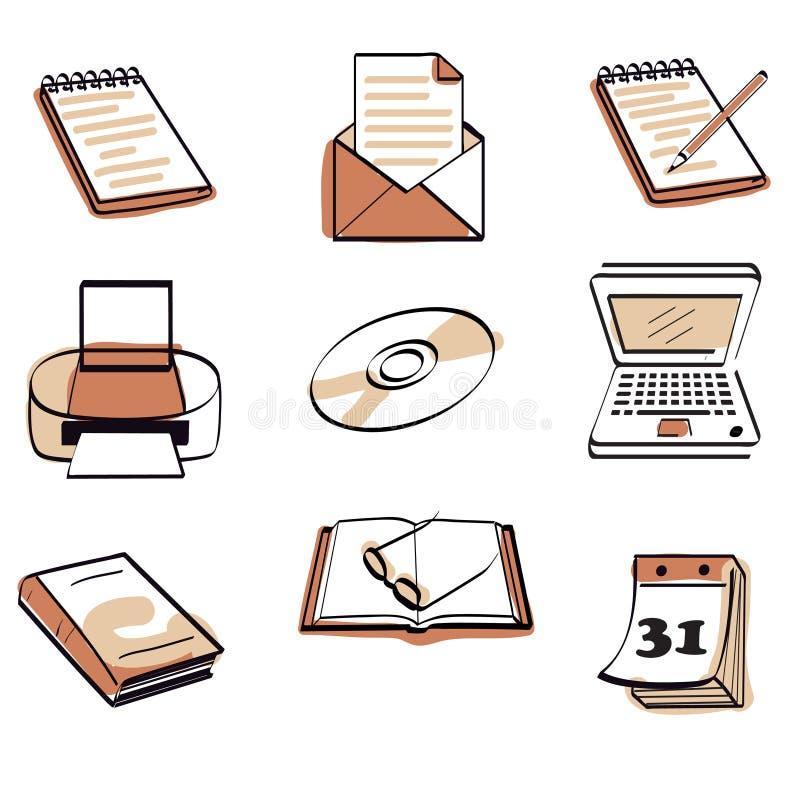 Büroikonenset lizenzfreie abbildung