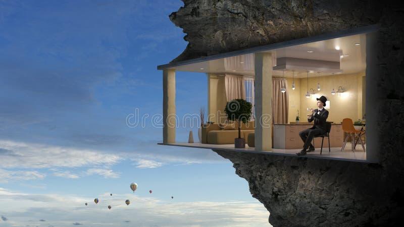 Büroinnenraum im Felsen Gemischte Medien lizenzfreies stockfoto