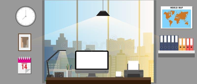 Büroinnenraum mit Büroeinrichtungen Büromonitor, Drucker, Ordnerweltkarte usw. Auch im corel abgehobenen Betrag stock abbildung