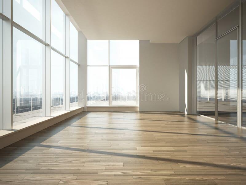 Büroinnenraum mit Glaswand stockfotografie