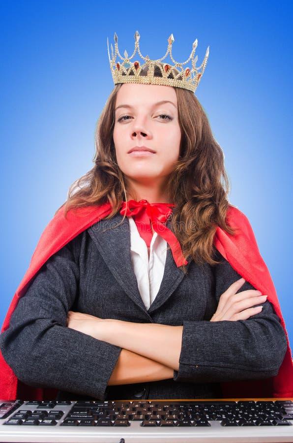 Bürokönigin lokalisiert auf dem Weiß stockfotos