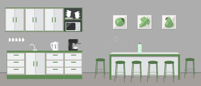 Büroküche Esszimmer im Büro Kaffeeraum lizenzfreie abbildung