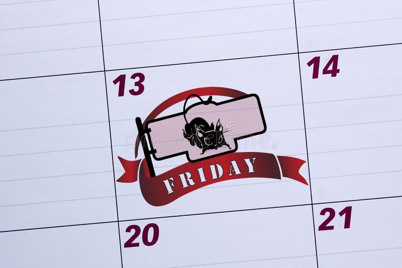 Bürokalender markierter Freitag der 13. stockbilder