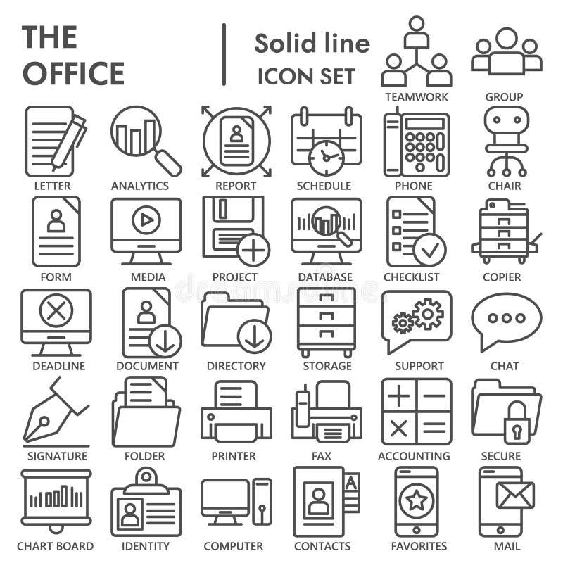Bürolinie UNTERZEICHNETER Ikonensatz, Arbeitsplatzsymbole Sammlung, Vektorskizzen, Logoillustrationen, Arbeitszeichen linear vektor abbildung