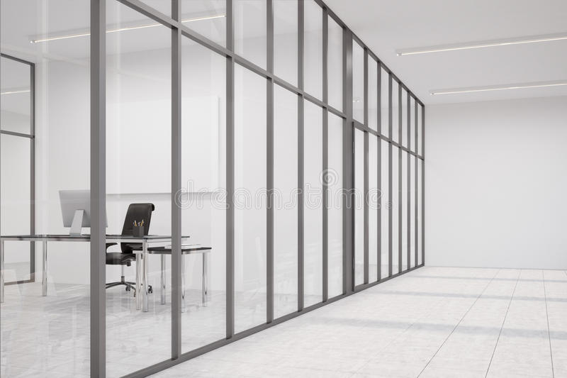 Bürolobby mit Glaswänden und CEO-Büro lizenzfreie abbildung