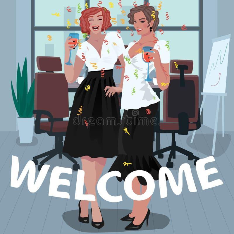 Büromädchen werden auf dem Job begrüßt lizenzfreie abbildung