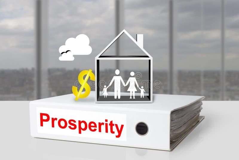 Büromappenwohlstandshausfamilien-Dollarsymbol lizenzfreies stockbild