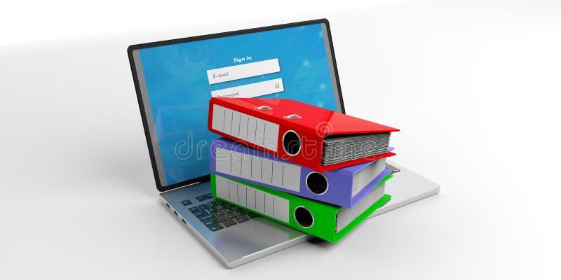 Büroordner auf einem Laptop auf weißem Hintergrund Abbildung 3D stock abbildung