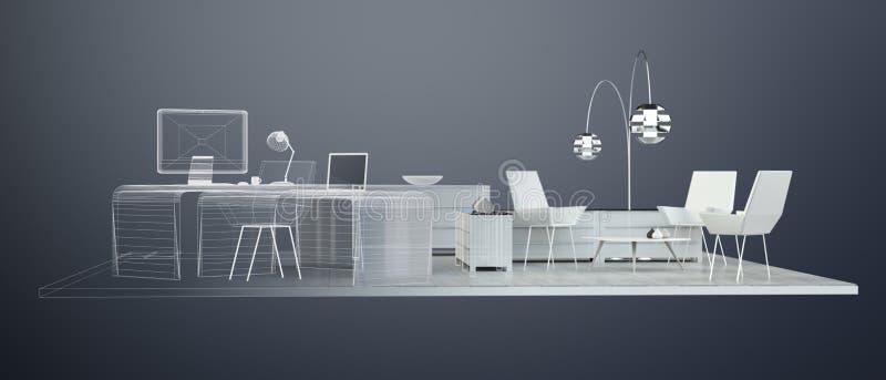 Büroplan der Wiedergabe 3D lizenzfreie abbildung