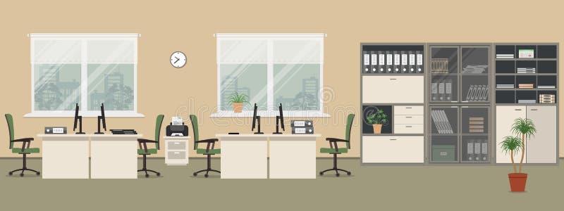 Büroraum in einer beige Farbe stock abbildung