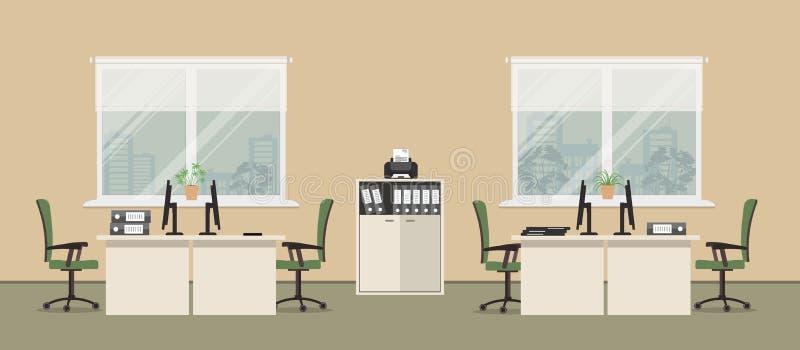Büroraum in einer beige Farbe mit weißen Tabellen und grünen Stühlen stock abbildung