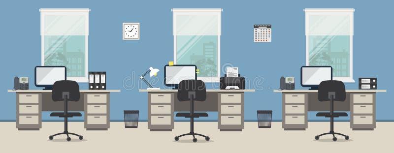 Büroraum in einer blauen Farbe Arbeitsplatz von Büroangestellten vektor abbildung