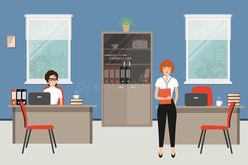 Büroraum in einer blauen Farbe Zwei junge Frauen sind Angestellte bei der Arbeit vektor abbildung